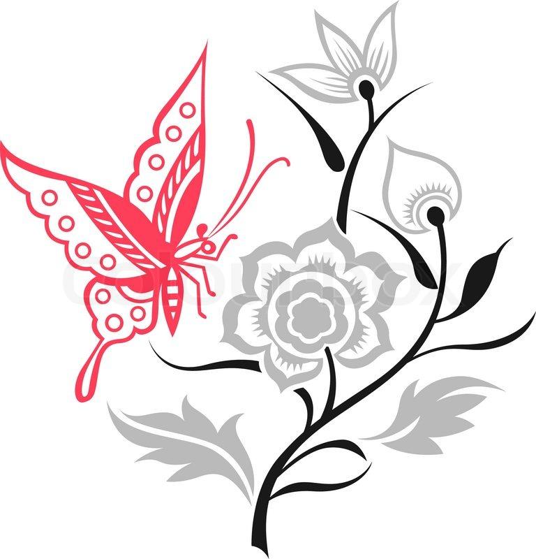 Butterfly Flower Illustration
