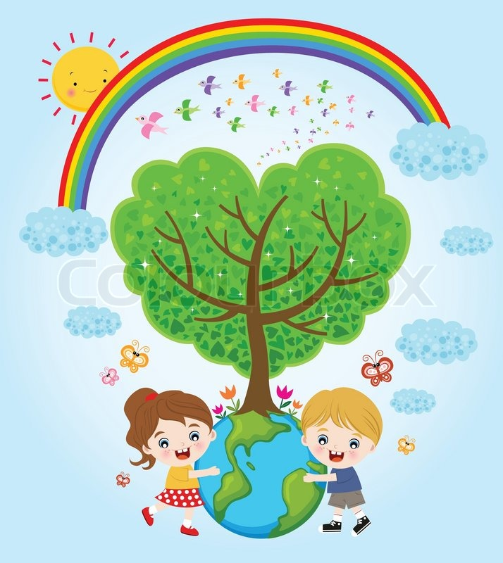 Children hugging the earth | Stock Vector | Colourbox