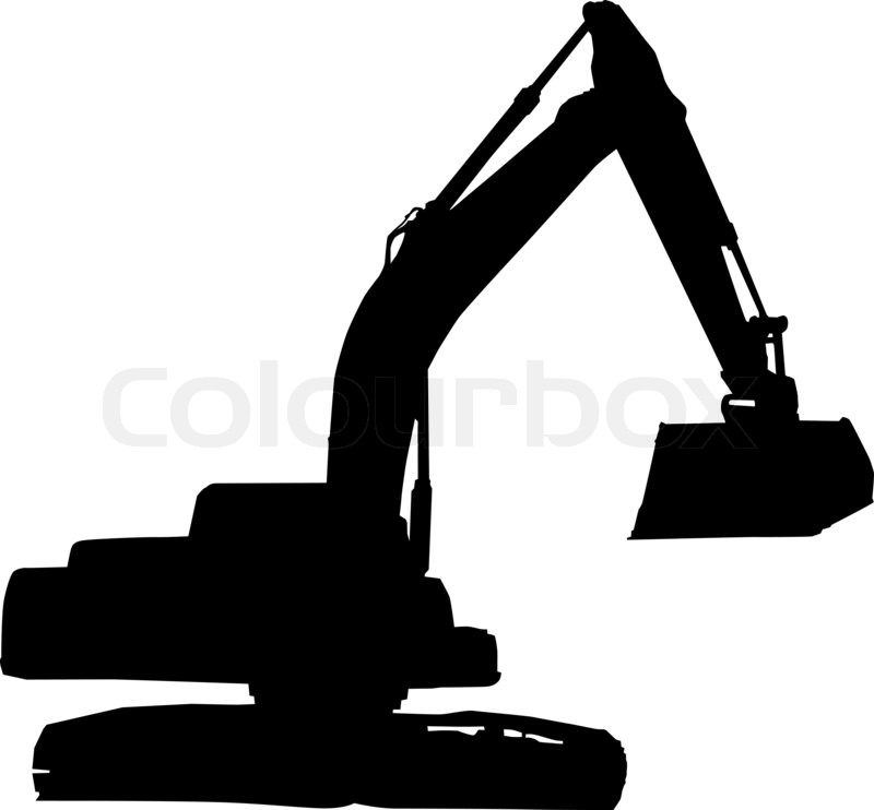 Mechanical digger excavator silhouette | Stock Photo ...