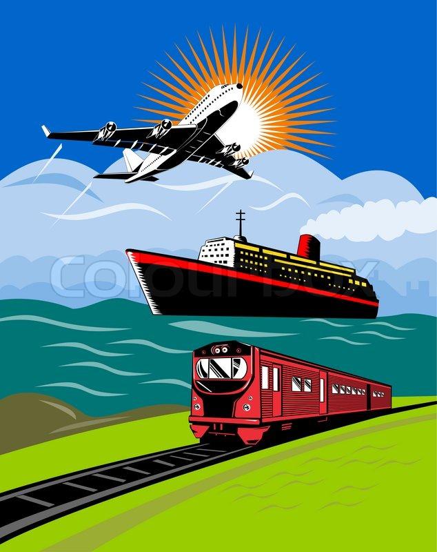 Airplane boat and train   Stock Photo   Colourbox