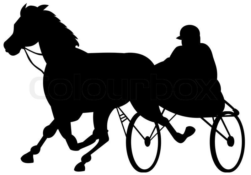 Illustration of a horse and jockey harness racing on isolated white