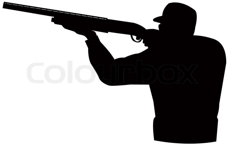 Hunter aiming shotgun rifle | Stock Photo | Colourbox