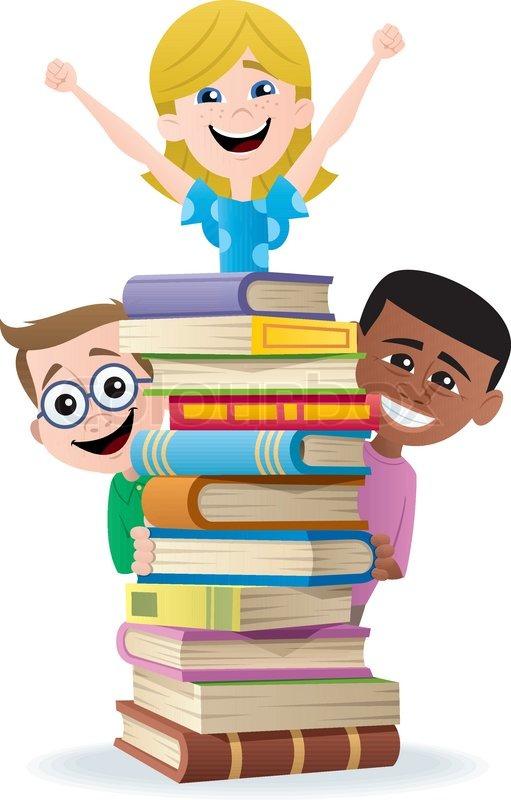 Bücherei clipart  Books and Kids | Stock Vector | Colourbox