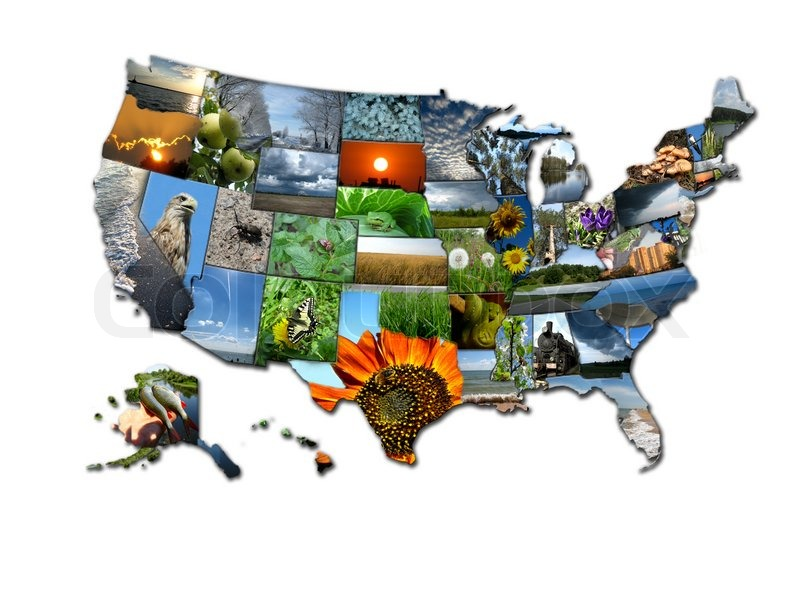 photo collage of unusual map of states of usa stock photo colourbox