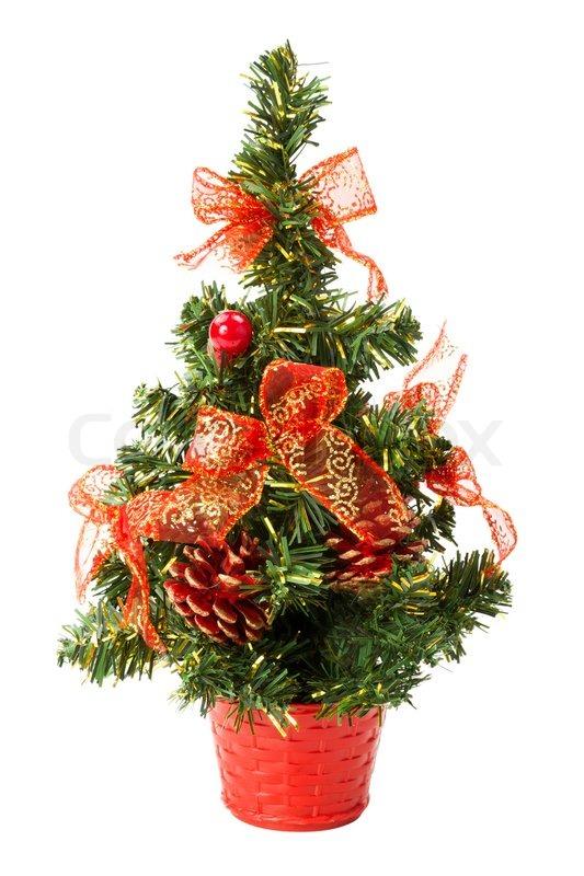 kleiner weihnachtsbaum mit b gen und zapfen auf wei em hintergrund stockfoto colourbox. Black Bedroom Furniture Sets. Home Design Ideas