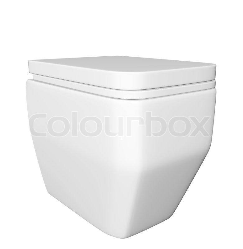moderne quadratische wei e keramik und acryl wc sch ssel und deckel isoliert gegen einen wei en. Black Bedroom Furniture Sets. Home Design Ideas