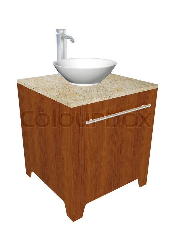 moderne badezimmer waschbecken set mit keramik waschsch ssel chrom armaturen und holzgeh use. Black Bedroom Furniture Sets. Home Design Ideas