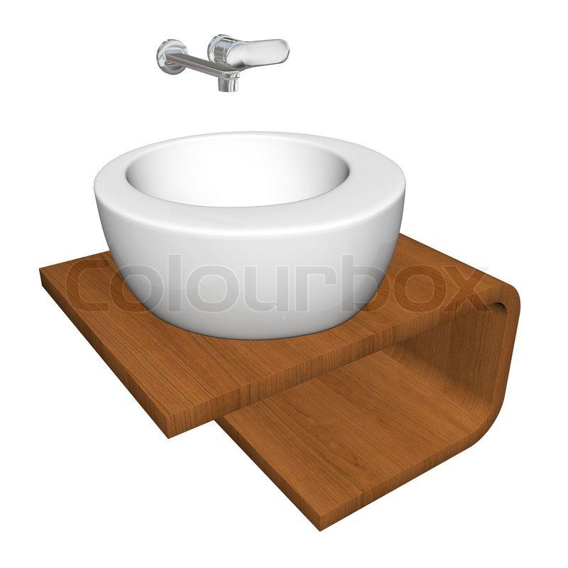 Wunderbar Moderne Badezimmer Waschbecken Set Mit Keramik Oder Acryl Waschen Schale,  Chrom Armaturen Und Werkzeugträger, 3D Illustration | Stockfoto | Colourbox