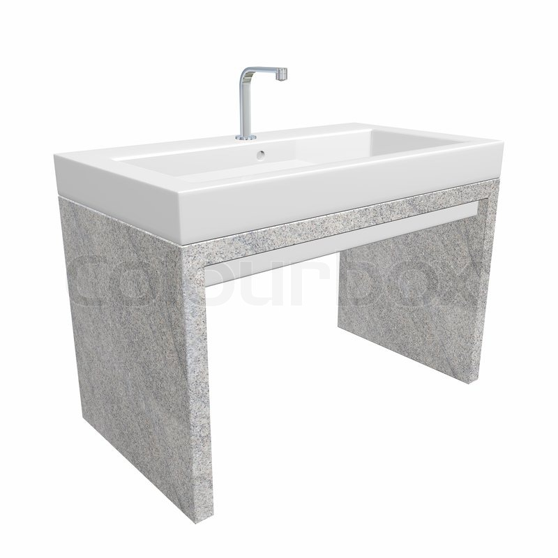 Modern washroom sink set with ceramic or acrylic wash basin, chrome ...