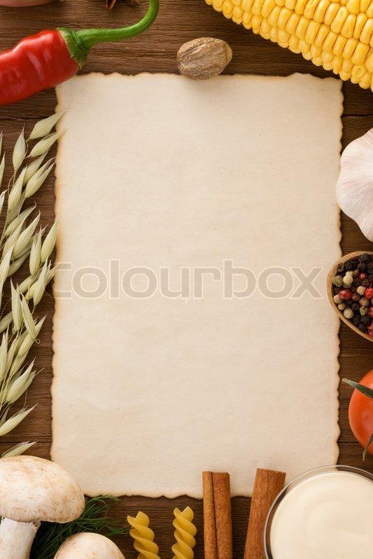 hintergrund f r kochrezepte stockfoto colourbox. Black Bedroom Furniture Sets. Home Design Ideas