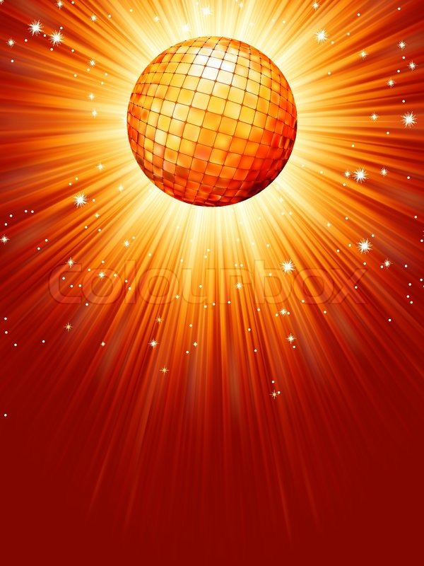 Sparkling Orange Red Disco Ball Eps 8 Stock Vector