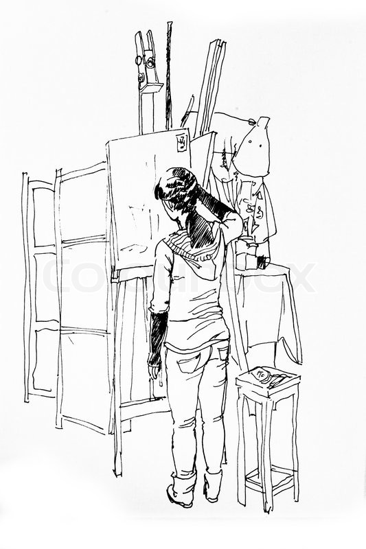 Art Room Drawing: Young Woman Drawing In A Studio Line ...