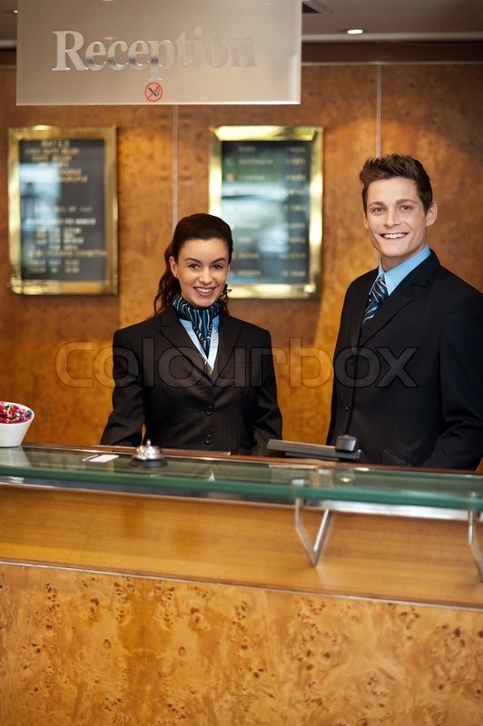 Trendy Adorable Couple At Front Office Stock Photo