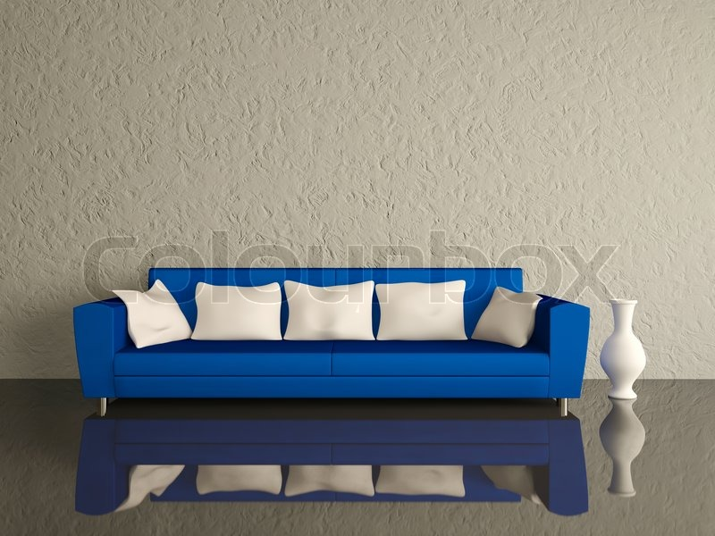 Blaues Sofa mit weißen Kissen | Stockfoto | Colourbox