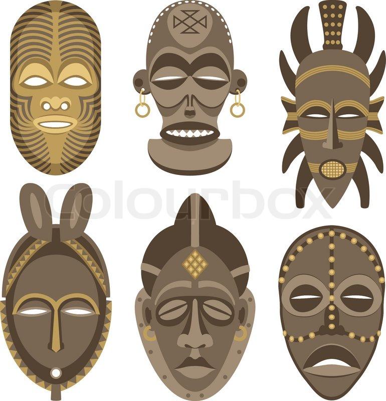 afrikanische masken vektorgrafik colourbox. Black Bedroom Furniture Sets. Home Design Ideas