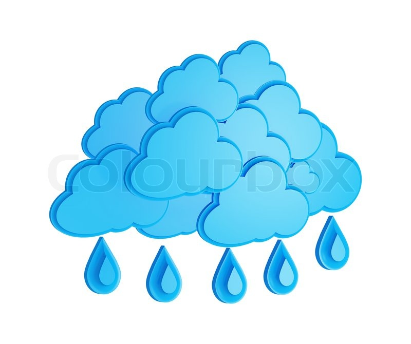 Cloud And Rain Weather Forecast Symbol On A White Background