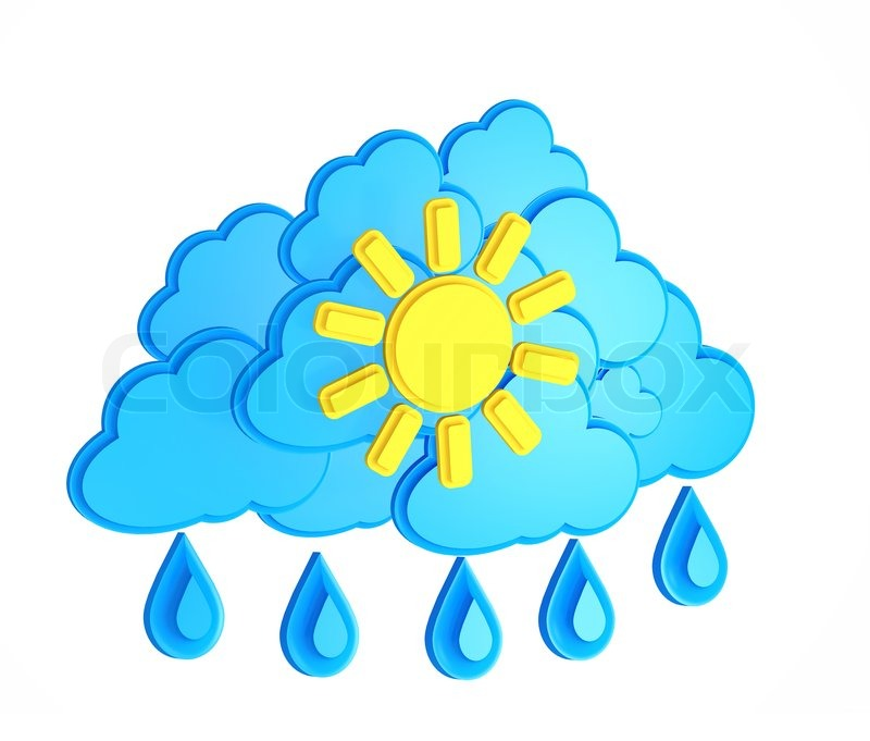 Sun Cloud And Rain Weather Forecast Symbol On A White Background