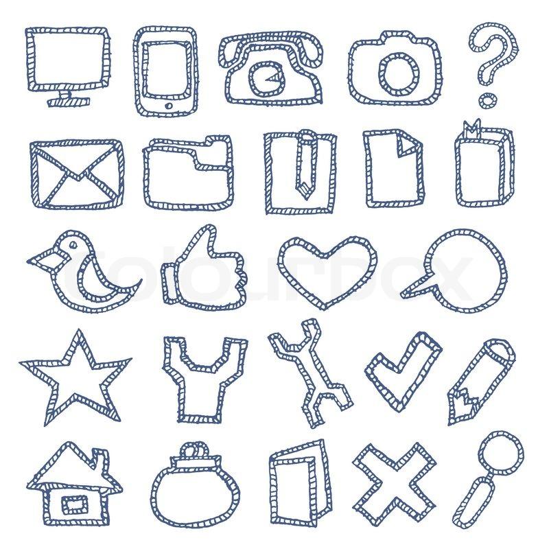 Hand drawn icons set stock vector colourbox