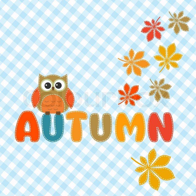 art autumn banner bird brown card color colorful cute