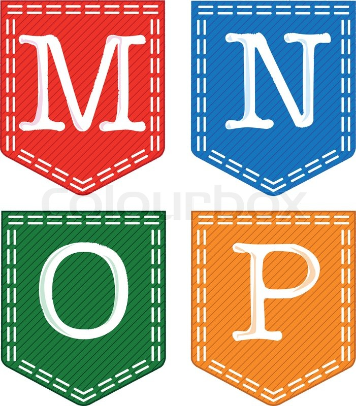 Alphabet Letters M N O P Stock Vector