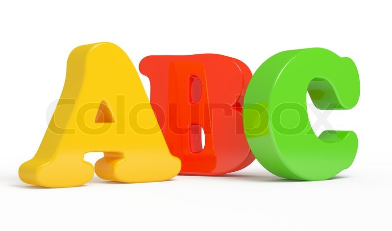 color abc letters over white background stock photo
