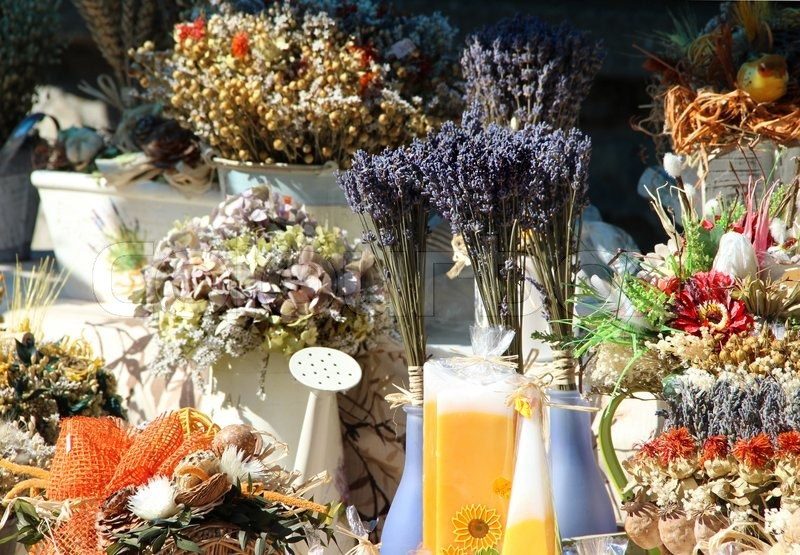 Stock image of 'Natural souvenirs: lavender, herbs, boquets, spices, aromatic pillows'