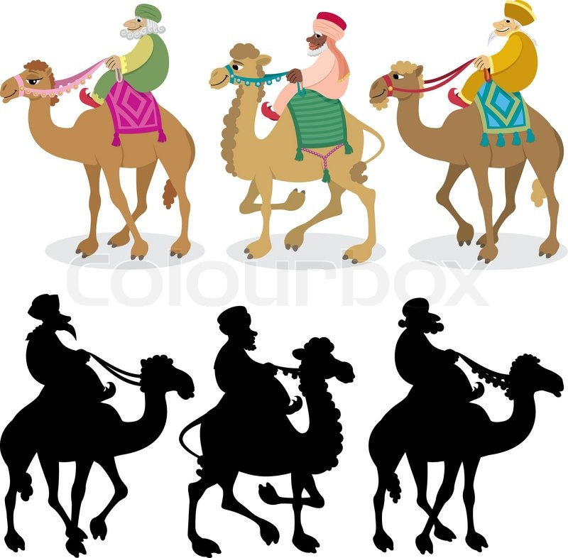 three wise men on white stock vector colourbox rh colourbox com Clip Art Three Wise Men Gifts Three Wise Men On Camels