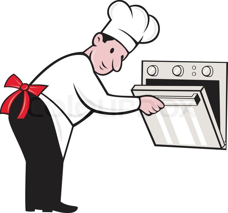 cartoon chef baker cook opening oven stock vector colourbox