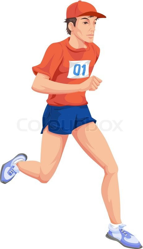 Man, Running, Color Illustration   Stock Vector   Colourbox
