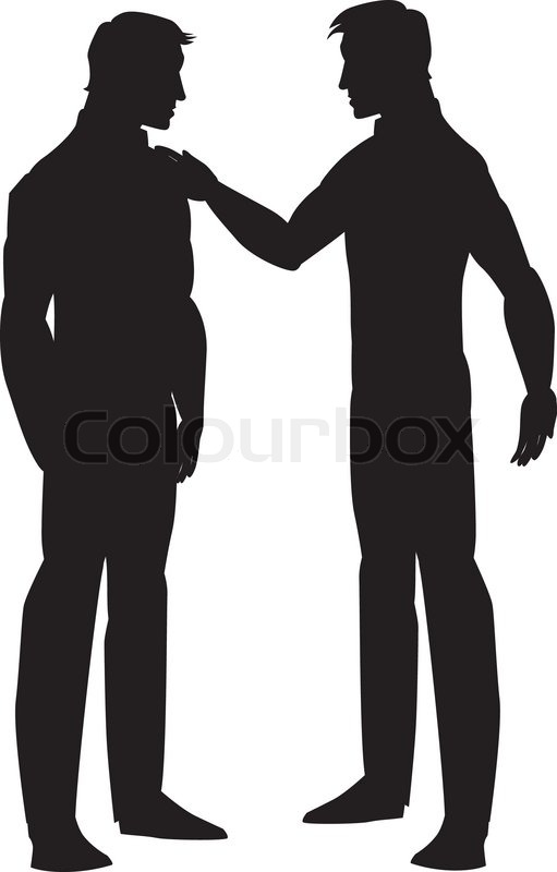 Silhouette Of Two Men Talking Illustration Stock Vector