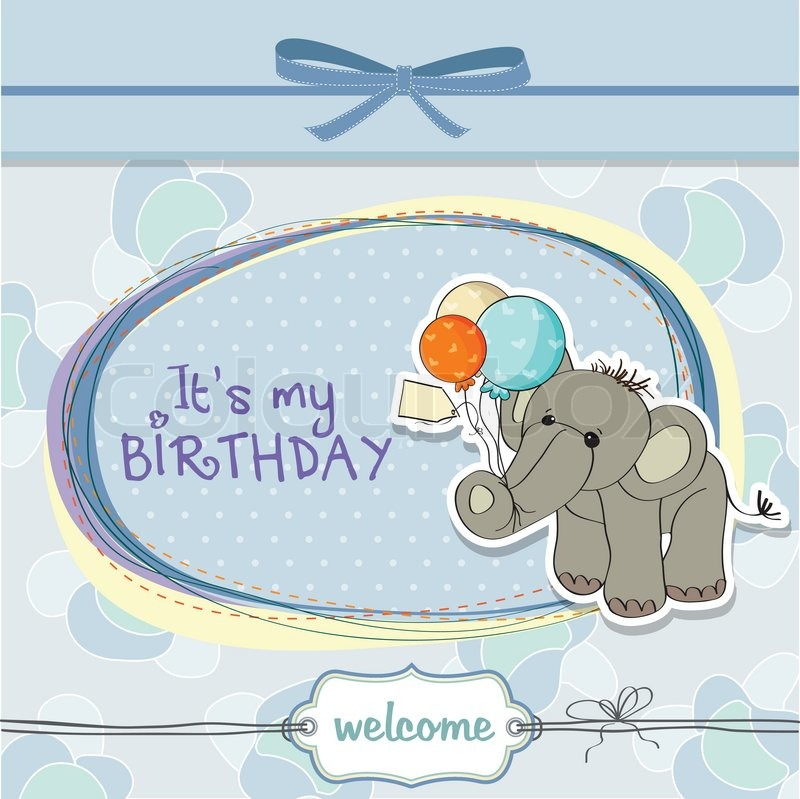 Baby Boy Birthday Card With Elephant And Balloons Stock Vector