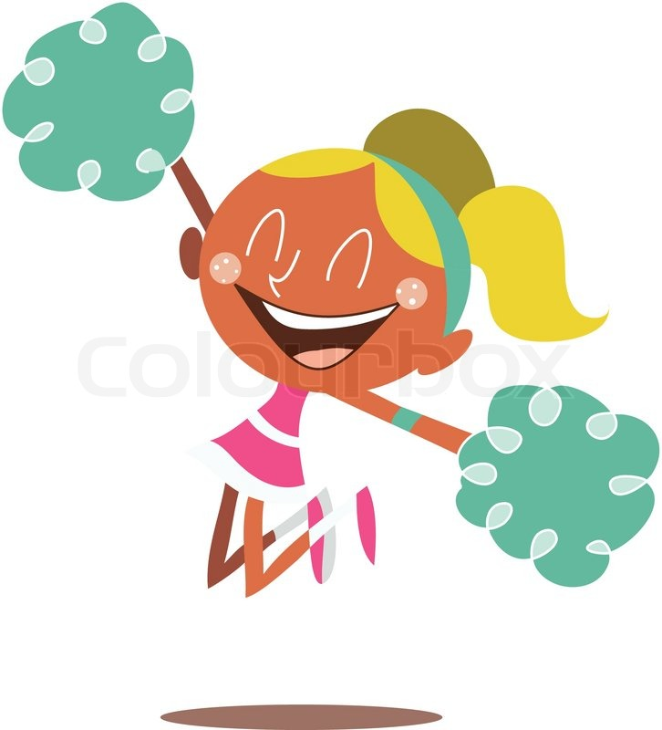 blond cheerleader jumping and cheering stock vector Pom Pom and Megaphone Clip Art Cheerleader Group Clip Art