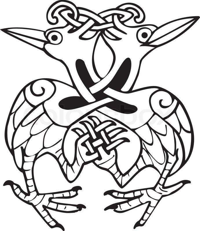Celtic Design mit ineinandergeschlungenen Linien von zwei Taube ...