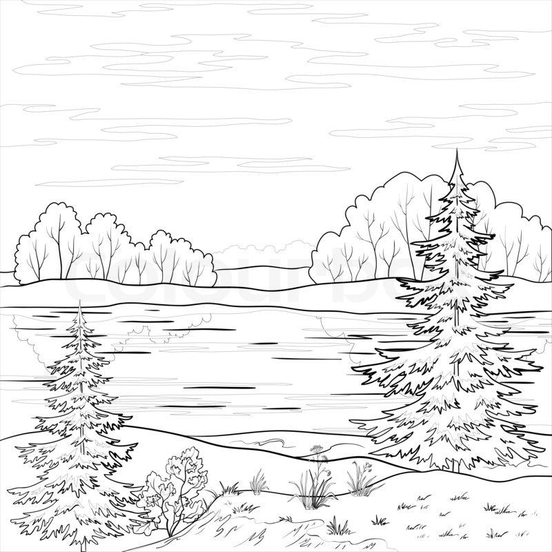 Line Art Forest : Landscape forest river outline stock photo colourbox