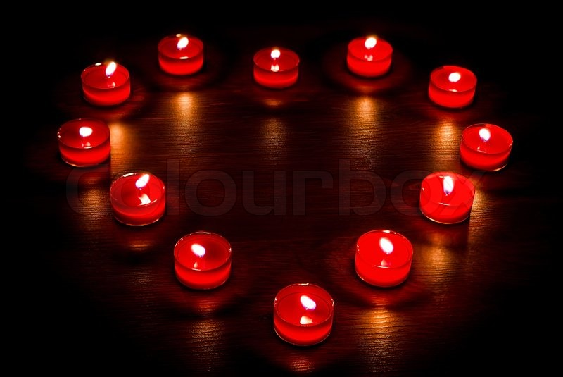 valentines candles in the form of heart stock photo colourbox