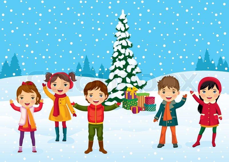 Weihnachten Kinder.Lustige Kinder Haben Spaß Am Stock Vektor Colourbox