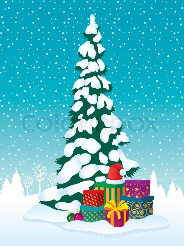 Weihnachtsbaum, Geschenke   Vektorgrafik   Colourbox