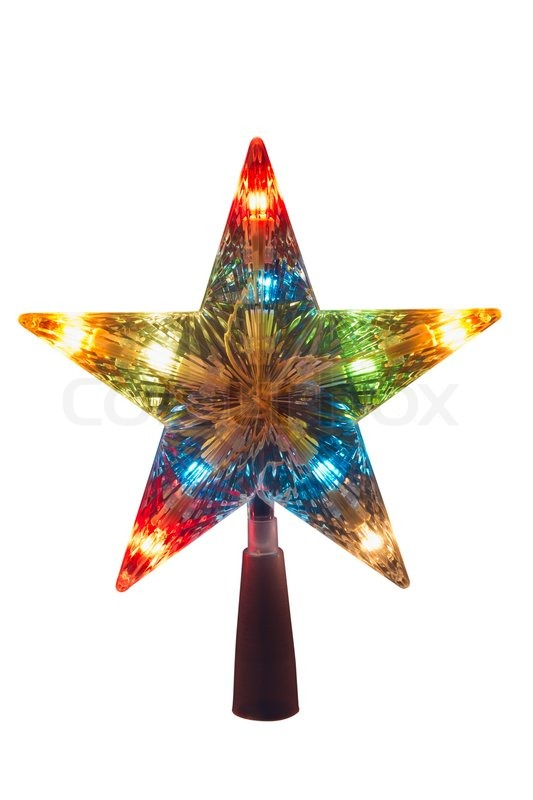 illuminated golden christmas star topper to be placed in the top of the tree stock photo colourbox
