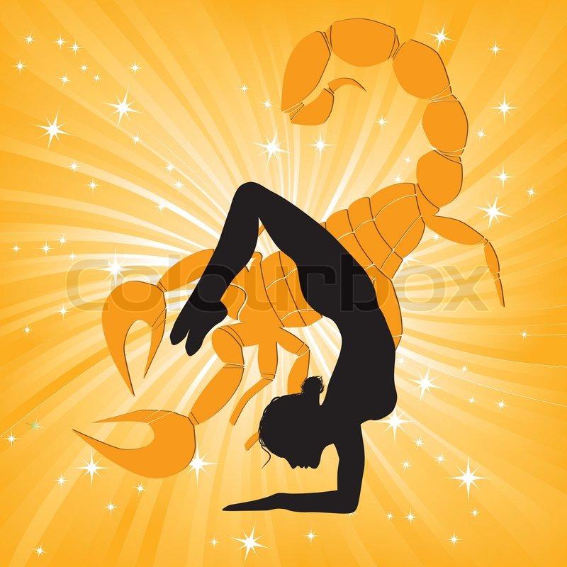 Woman In Yoga Scorpio Asana Sport On Wave Background Girl