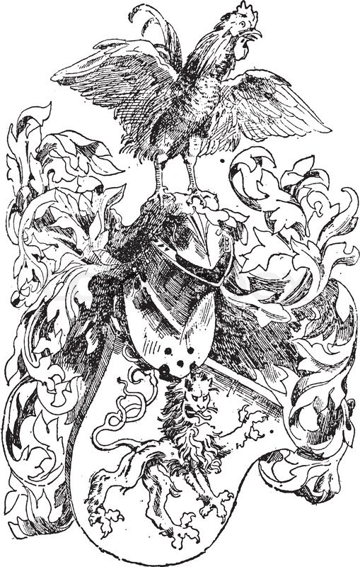 Knight S Helmet And Lion Shield Shown With A Rooster