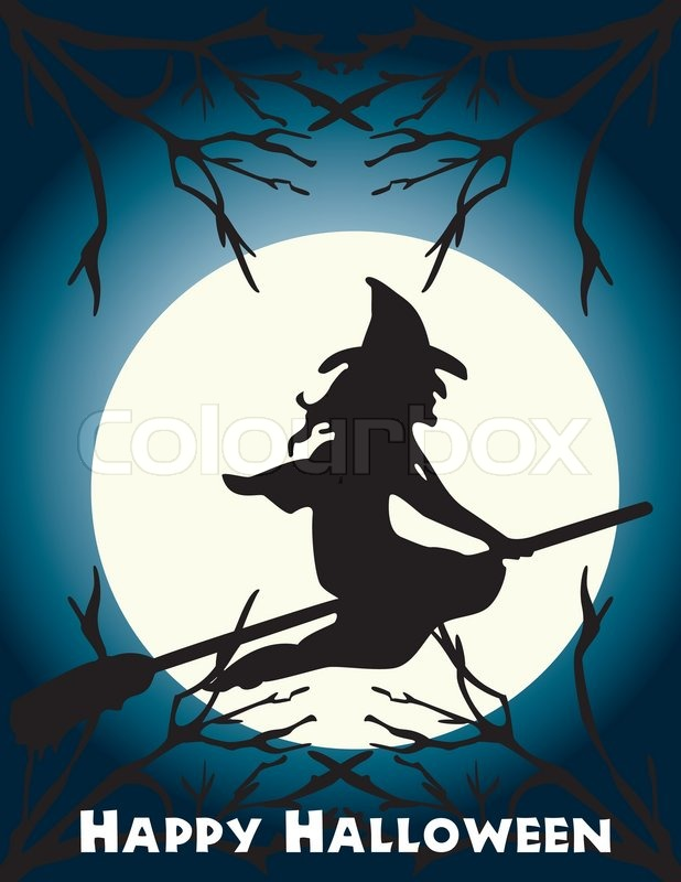 halloween flying witch on a broom scene stock vector colourbox