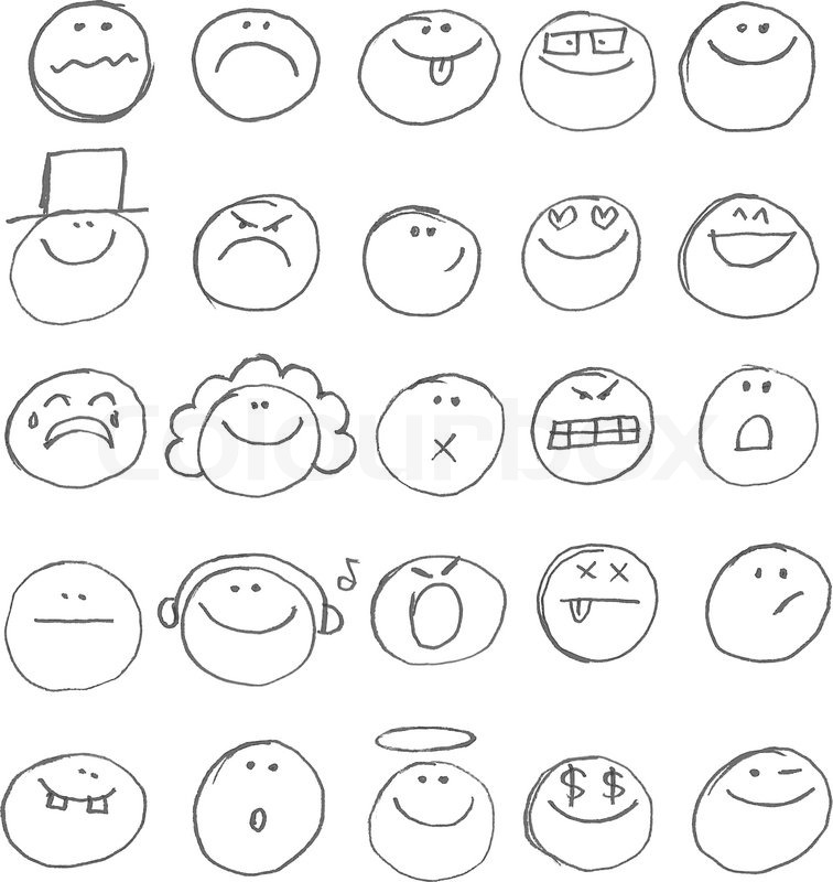 Line Drawing Smiley Face : Emoticon doodles set vector hand drawn stock