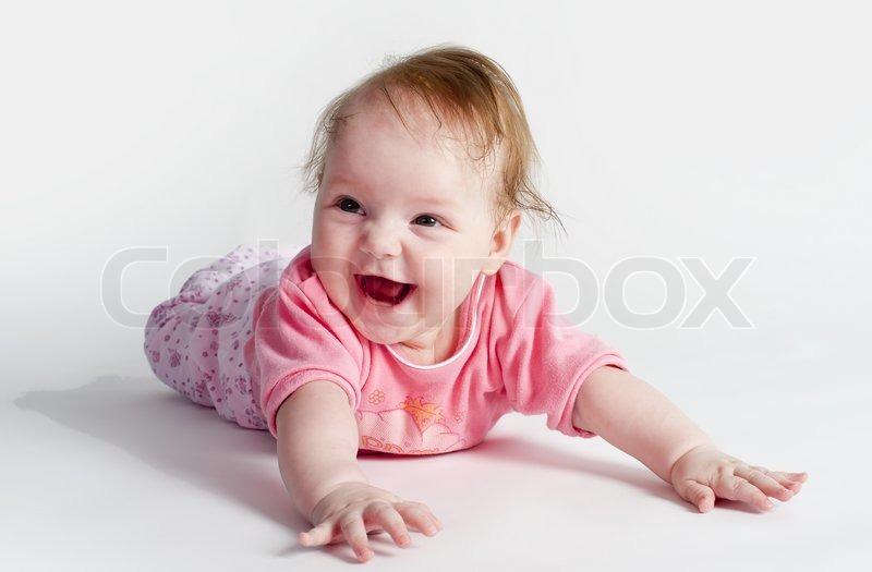 Adorable Little Baby Girl Stock Photo Colourbox