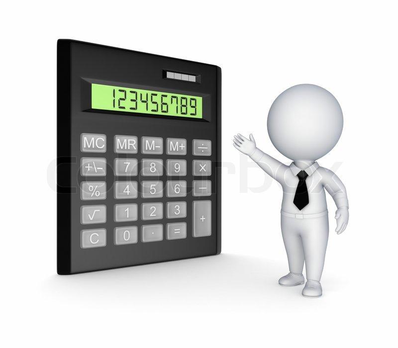 Calculator And 3d Small Person Stock Photo Colourbox