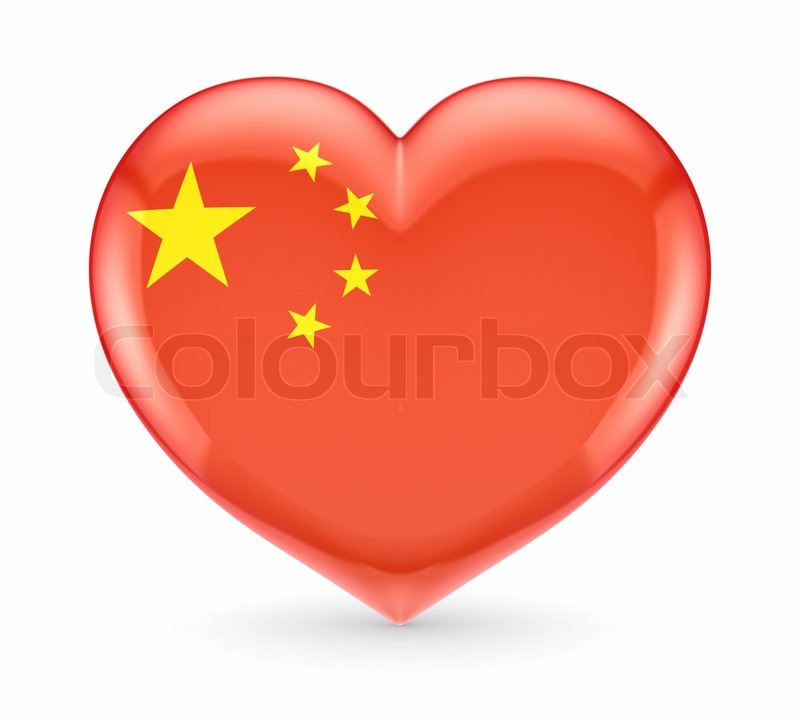 Chinese Flag On A Heart Symbol Stock Photo Colourbox
