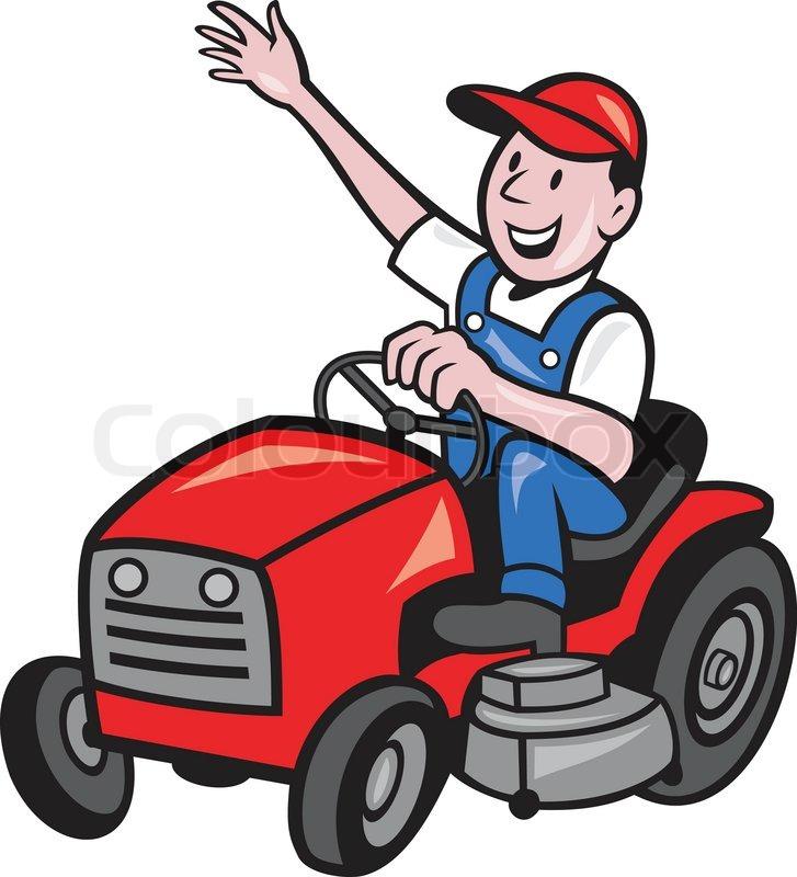 landwirt fahrt auf m her traktor fahren vektorgrafik colourbox. Black Bedroom Furniture Sets. Home Design Ideas