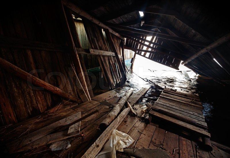 Old Grunge Abandoned Broken Ship Barn Interior Background