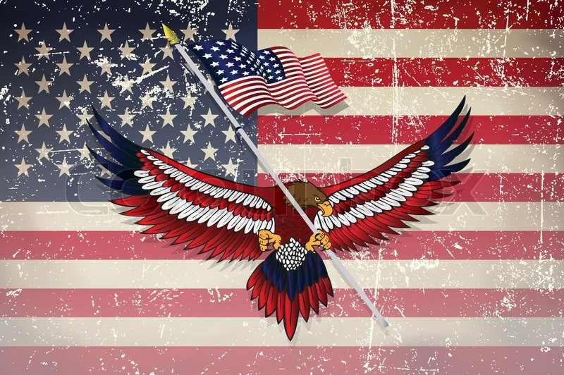 Usa Flag With Eagle Grunge Effect