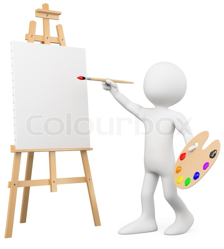 3d artist painting on a canvas on an easel stock photo colourbox
