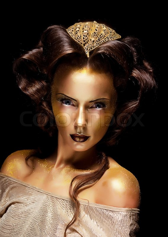 Woman Gilded Golden Face Theater Luxury Make Up Stock